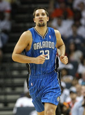 CHARLOTTE - APRIL 24:  Forward Ryan Anderson #33 of the Orlando Magic runs upcourt during Game Three of the Eastern Conference Quarterfinals against the Charlotte Bobcats during the 2010 NBA Playoffs at Time Warner Cable Arena on April 24, 2010 in Charlot