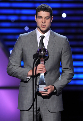 LOS ANGELES, CA - JULY 13:  NBA Player Jimmer Fredette poses with his award for Best Male College Athlete onstage at The 2011 ESPY Awards at Nokia Theatre L.A. Live on July 13, 2011 in Los Angeles, California.  (Photo by Kevin Winter/Getty Images)