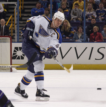 8 Dec 2001: Chris Pronger #44 of the St. Louis Blues sends the puck down the ice against the Los Angeles Kings during the first period at the Savvis Center in St. Louis, Missouri. DIGITAL IMAGE. Mandatory Credit: Elsa/ALLSPORT