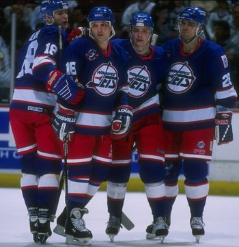 14 Apr 1996:  The Winnipeg Jets celebrate during a game against the Anaheim Mighty Ducks at Arrowhead Pond in Anaheim, California.  The Ducks won the game, 5-2. Mandatory Credit: Glenn Cratty  /Allsport