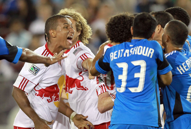 PALO ALTO, CA - JULY 02:  Juan Agudelo #17 of the New York Red Bulls shouts at players from the San Jose Earthquakes during a fight at Stanford Stadium on July 2, 2011 in Palo Alto, California.  (Photo by Ezra Shaw/Getty Images)