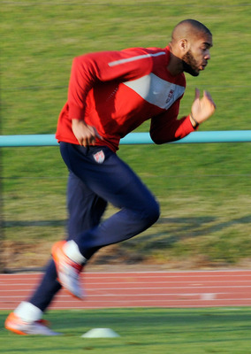 PRETORIA, SOUTH AFRICA - JUNE 04:  Oguchi Onyewu defender of US national team football team sprints during training session on June 4, 2010 in Pretoria, South Africa. Altidore suffered a mild ankle sprain during training on June 2.  (Photo by Kevork Djans