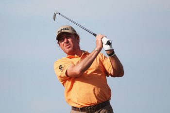 SANDWICH, ENGLAND - JULY 15:  Miguel Angel Jimenez of Spain tees off on the 16th hole during the second round of The 140th Open Championship at Royal St George's on July 15, 2011 in Sandwich, England.  (Photo by Ross Kinnaird/Getty Images)