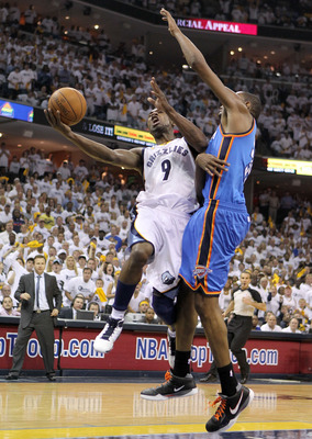 MEMPHIS, TN - MAY 07:  Tony Allen #9 of the  Memphis Grizzlies shoots the ball while defended by  Kevin Durant #35 of the Oklahoma City Thunder in Game Three of the Western Conference Semifinals in the 2011 NBA Playoffs at FedExForum on May 7, 2011 in Mem