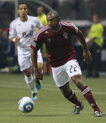 VANCOUVER, CANADA - OCTOBER 22:  Marvell Wynne #22 of the Colorado Rapids pursues the ball during their MLS game against the Vancouver Whitecaps FC October 22, 2011 at BC Place in Vancouver, British Columbia, Canada. Colorado won 2-1.  (Photo by Jeff Vinn