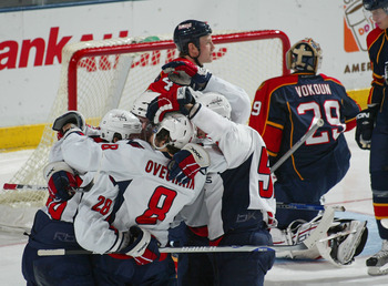 SUNRISE, FL - FEBRUARY 15:  Alexander Semin #28 (L) of the Washington Capitals is congratulated by Alex Ovechkin #8 both after Semin's second period goal against Tomas Vokoun #29 of the Florida Panthers on February 15, 2008 at the Bank Atlantic Center in