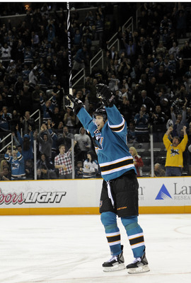 SAN JOSE, CA - MARCH 8: Dany Heatley #15 of the San Jose Sharks celebrates after he gets an assist on a goal against the Nashville Predators in the second period of an NHL hockey game at the HP Pavilion on March 8, 2011 in San Jose, California. (Photo by