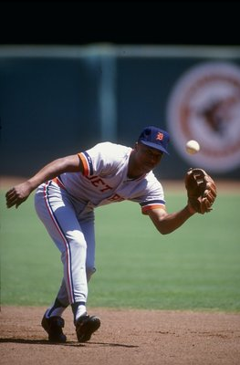 1991:  Lou Whitaker of the Detroit Tigers fields a ball during a game against the California Angels in Anaheim, California. Mandatory Credit: Ken Levine  /Allsport