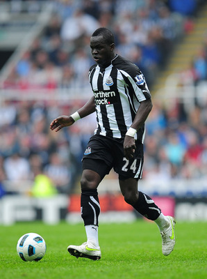 NEWCASTLE UPON TYNE, ENGLAND - MAY 07:  Newcastle player Chiek Tiote in action during the Barclays Premier League game between Newcastle United and Birmingham City at St James' Park on May 7, 2011 in Newcastle upon Tyne, England.  (Photo by Stu Forster/Ge