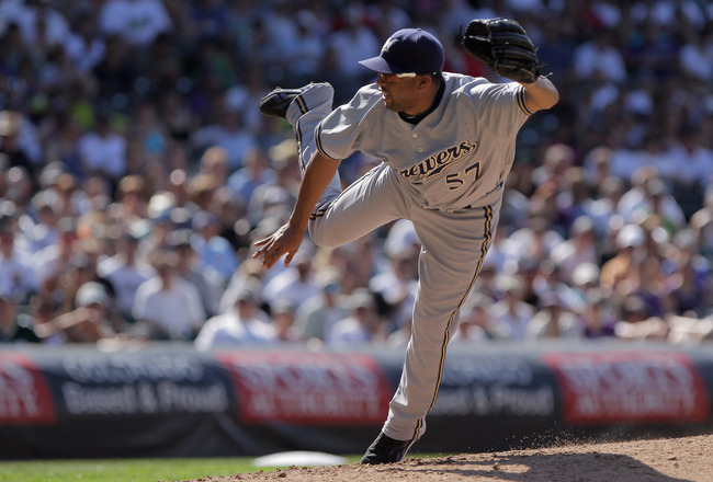 DENVER, CO - JULY 17:  Relief pitcher Francisco Rodriguez #57 of the Milwaukee Brewers delivers against the Colorado Rockies at Coors Field on July 17, 2011 in Denver, Colorado. Rodriguez earned a hold as they Brewers defeated the Rockies 4-3.  (Photo by