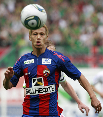 KHIMKI, RUSSIA - JUNE 22: (EMBARGOED FOR PUBLICATION IN ALL JAPANESE MEDIA UNTIL 48 HOURS AFTER CREATE DATE AND TIME) Keisuke Honda of PFC CSKA Moscow in action during the Russian Football League Championship match between PFC CSKA Moscow and FC Lokomotiv