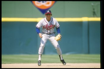 1989:  Darrell Evans of the Atlanta Braves in action. Mandatory Credit: Stephen Dunn  /Allsport
