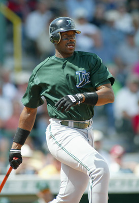 BRADENTON , FL- MARCH 9:  Fred McGriff #29 of the Tampa Bay Devil Rays at bat during the Spring Training game against the Pittsburgh Pirates on March 9, 2004 at MeKechnie Field in Bradenton, Florida. (Photo by Rick Stewart/Getty Images)