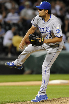 CHICAGO, IL - JULY 05: Joakim Soria #48 of the Kansas City Royals pitches against the Chicago White Sox in the ninth inning on July 5, 2011 at U.S. Cellular Field in Chicago, Illinois. The Royals defeated the White Sox 5-3.  (Photo by David Banks/Getty Im
