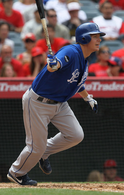 ANAHEIM, CA - JUNE 12:  Chris Getz #17 of the Kansas City Royals hits an RBI single in the sixth inning against the Los Angeles Angels of Anaheim on June 12, 2011 at Angel Stadium in Anaheim, California.  The Royals won 9-0.  (Photo by Stephen Dunn/Getty