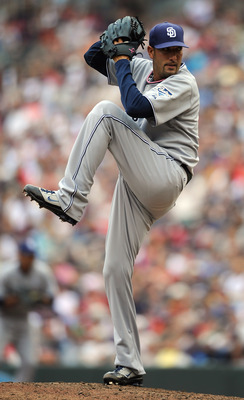 MINNEAPOLIS, MN - JUNE 19: Mike Adams #37 of the San Diego Padres delivers a pitch against the Minnesota Twins in the seventh inning on June 19, 2011 at Target Field in Minneapolis, Minnesota. The Twins defeated the Padres 5-4. (Photo by Hannah Foslien/Ge