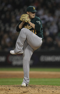CHICAGO, IL - JUNE 10:  Andrew Bailey #40 of the Oakland Athletics pitches in the 9th inning against the Chicago White Sox at U.S. Cellular Field on June 10, 2011 in Chicago, Illinois. The Athletics defeated the White Sox 7-5.  (Photo by Jonathan Daniel/G