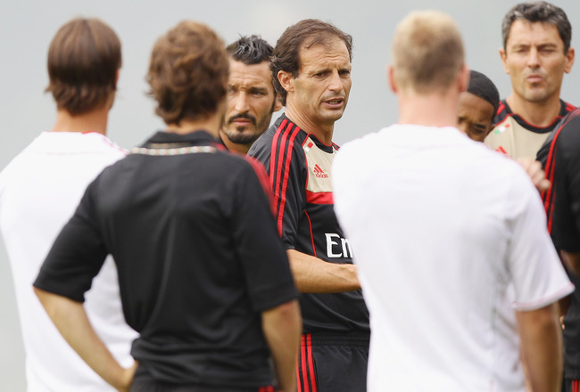 SOLBIATE ARNO, ITALY - JULY 12:  AC Milan coach Massimiliano Allegri attends a training session at Milanello on July 12, 2011 in Solbiate Arno, Italy.  (Photo by Vittorio Zunino Celotto/Getty Images)