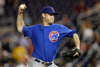 WASHINGTON, DC - JULY 06: Relief pitcher Kerry Wood #34 of the Chicago Cubs delivers to a Washington Nationals batter during the seventh inning at Nationals Park on July 6, 2011 in Washington, DC.  (Photo by Rob Carr/Getty Images)