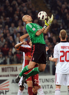 ROME, ITALY - MAY 07:  Christian Abbiati of Milan in action during the Serie A match between AS Roma and AC Milan at Stadio Olimpico on May 7, 2011 in Rome, Italy.  (Photo by Giuseppe Bellini/Getty Images)