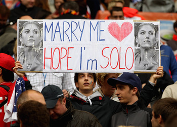 MOENCHENGLADBACH, GERMANY - JULY 13:  A USA fan holds a banner for Hope Solo during the FIFA Women's World Cup 2011 Semi Final match between France and USA at Borussia Park on July 13, 2011 in Moenchengladbach, Germany.  (Photo by Scott Heavey/Getty Image