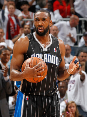 ATLANTA, GA - APRIL 28:  Gilbert Arenas #1 of the Orlando Magic against the Atlanta Hawks during Game Six of the Eastern Conference Quarterfinals in the 2011 NBA Playoffs at Philips Arena on April 28, 2011 in Atlanta, Georgia.  NOTE TO USER: User expressl