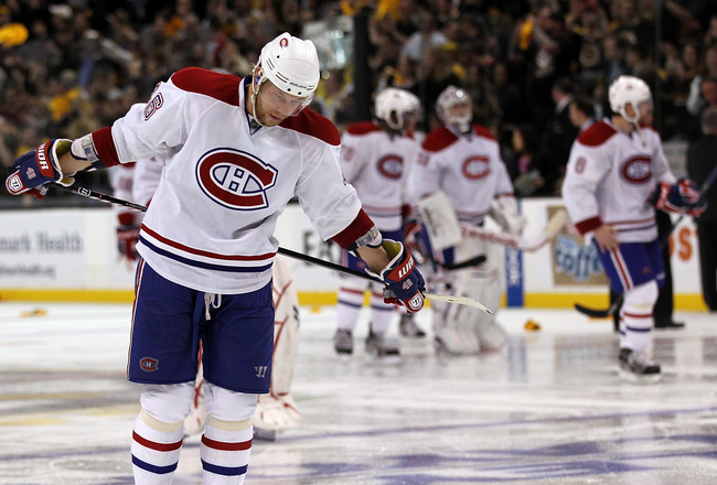 BOSTON, MA - APRIL 27:  Andrei Kostitsyn #46 of the Montreal Canadiens leaves the ice after losing to the Boston Bruins in Game Seven of the Eastern Conference Quarterfinals during the 2011 NHL Stanley Cup Playoffs at TD Garden on April 27, 2011 in Boston