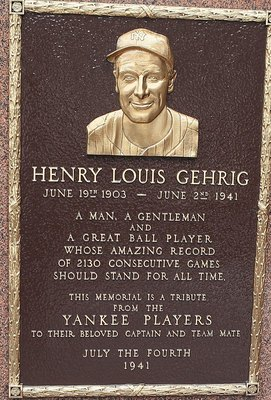 NEW YORK - MAY 02:  The monument of Lou Gehrig is seen in Monument Park at Yankee Stadium prior to game between the New York Yankees and the Chicago White Sox on May 2, 2010 in the Bronx borough of New York City. The Yankees defeated the White Sox 12-3.
