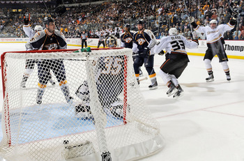 NASHVILLE, TN - APRIL 24:  Jason Blake #33 of the Anaheim Ducks celebrates after scoring a goal against Pekka Rinne #35 of the Nashville Predators in Game Six of the Western Conference Quarterfinals during the 2011 NHL Stanley Cup Playoffs at Bridgestone
