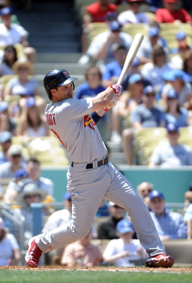 LOS ANGELES, CA - APRIL 17:  Ryan Theriot #3 of the St. Louis Cardinals at bat against the Los Angeles Dodgers at Dodger Stadium on April 17, 2011 in Los Angeles, California.  (Photo by Harry How/Getty Images)