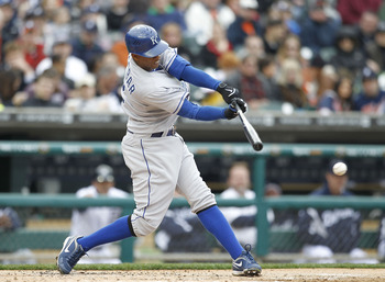 DETROIT - APRIL 09:  Alcides Escobar #2 of the Kansas City Royals bats during the fifth inning during the game against the Detroit Tigers at Comerica Park on April 9, 2011 in Detroit, Michigan. The Royals defeated the Tigers 3-1.  (Photo by Leon Halip/Get