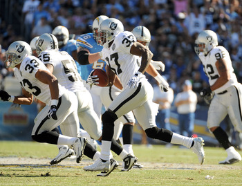 SAN DIEGO - NOVEMBER 01:  Chris Johnson #37 of the Oakland Raiders returns an interception against the San Diego Chargers during the first quarter at Qualcomm Stadium on November 1, 2009 in San Diego, California.  (Photo by Harry How/Getty Images)