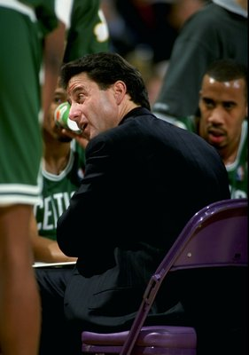 29 Dec 1997:  Coach Rick Pitino of the Boston Celtics looks on during a game against the Los Angeles Lakers at the Great Western Forum in Inglewood, California.  The Celtics defeated the Lakers 108-102. Mandatory Credit: Jed Jacobsohn  /Allsport
