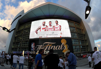 MIAMI, FL - MAY 31:  A general view of the exterior of American Airlines Arena as it displays an image of (L-R) LeBron James.Dwyane Wade and Chris Bosh of the Miami Heat before Game One of the 2011 NBA Finals between the Heat and the Dallas Mavericks at A