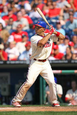 PHILADELPHIA - JULY 10: Left fielder Raul Ibanez #29 of the Philadelphia Phillies bats during a game against the Atlanta Braves at Citizens Bank Park on July 10, 2011 in Philadelphia, Pennsylvania. The Phillies won 14-1. (Photo by Hunter Martin/Getty Imag