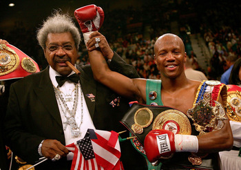 LAS VEGAS - MAY 14:  Zab 'Super' Judah celebrates retaining the welterweight championship with promoter Don King (L) after a third round knockout of No. 1 contender Cosme Rivera at the MGM Grand Garden Arena on May, 14, 2005 in Las Vegas, Nevada.  (Photo