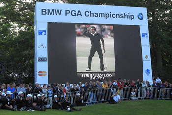 VIRGINIA WATER, ENGLAND - MAY 29:  The Leaderboard pays tribute to the memory of Seve Ballesteros of Spain after the final round of the BMW PGA Championship  at the Wentworth Club on May 29, 2011 in Virginia Water, England.  (Photo by David Cannon/Getty I