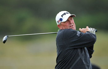 SANDWICH, ENGLAND - JULY 14:  Mark Calcavecchia of the United States tees off during the first round of The 140th Open Championship at Royal St George's on July 14, 2011 in Sandwich, England.  (Photo by Stuart Franklin/Getty Images)