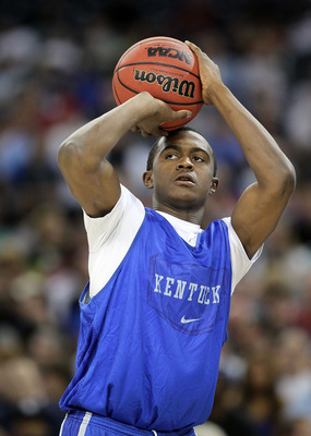 HOUSTON, TX - APRIL 01:  Doron Lamb #20 of the Kentucky Wildcats shoots the ball during practice prior to the 2011 Final Four of the NCAA Division I Men's Basketball Tournament at Reliant Stadium on April 1, 2011 in Houston, Texas.  (Photo by Andy Lyons/G