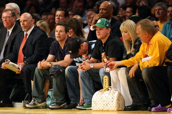 LOS ANGELES, CA - JUNE 15:  Actors Mark Wahlberg and Matt Damon attend Game Five of the 2008 NBA Finals between the Boston Celtics and the Los Angeles Lakers on June 15, 2008 at Staples Center in Los Angeles, California.  NOTE TO USER: User expressly ackn