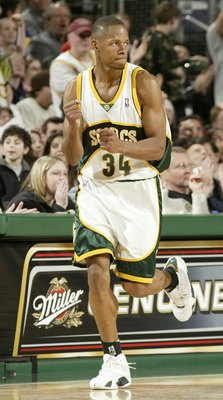 SEATTLE - MARCH 26:  Ray Allen #34 of the Seattle SuperSonics reacts after hitting a three point shot in the fourth quarter against the San Antonio Spurs at Key Arena on March 26, 2005 in Seattle, Washington.  NOTE TO USER: User expressly acknowledges and