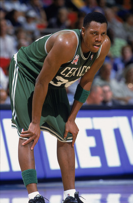 29 Nov 2001:  Forward Paul Pierce #34 of the Boston Celtics rests his hands on his knees during the NBA game against the Orlando Magic at TD Waterhouse Centre in Orlando, Florida.  The Celtics defeated the Magic 99-89.  Mandatory Credit:  Andy Lyons/Getty