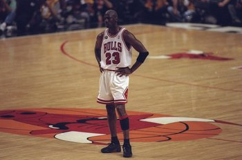 10 Jun 1998:  Michael Jordan #23 of the Chicago Bulls looks on during the NBA Finals Game 4 against the Utah Jazz at the United Center in Chicago, Illinois.  The Bulls defeated the Jazz 86-82. Mandatory Credit: Jonathan Daniel  /Allsport