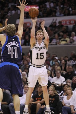 SAN ANTONIO - APRIL 29:  Matt Bonner #15 of the San Antonio Spurs in Game Six of the Western Conference Quarterfinals during the 2010 NBA Playoffs at AT&T Center on April 29, 2010 in San Antonio, Texas. NOTE TO USER: User expressly acknowledges and agrees