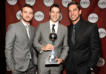 LOS ANGELES, CA - JULY 13:  (L-R) Actor/singer Justin Timberlake, ESPY Best Male College Athlete Award winner NBA player Jimmer Fredette and NFL quarterback Aaron Rodgers attend The 2011 ESPY Awards at Nokia Theatre L.A. Live on July 13, 2011 in Los Angel