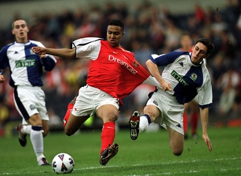 22 May 2001: Darren Hockenhull of Blackburn tackles Jorome Thomas of Arsenal during the Blackburn Rovers v Arsenal AXA FA Youth Cup Final, Second leg match at Ewood Park, Blackburn. Mandatory Credit: Michael Steele/ALLSPORT