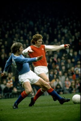 1975:  Alan Ball of Arsenal in action during the Football League Division One match against Manchester City played at Highbury in London, England. \ Mandatory Credit: Allsport UK /Allsport