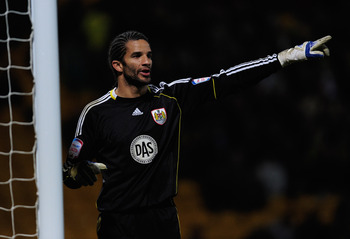 NORWICH, ENGLAND - MARCH 14:  David James of Bristol City looks on during the npower Championship match between Norwich City and Bristol City at Carrow Road on March 14, 2011 in Norwich, England.  (Photo by Jamie McDonald/Getty Images)