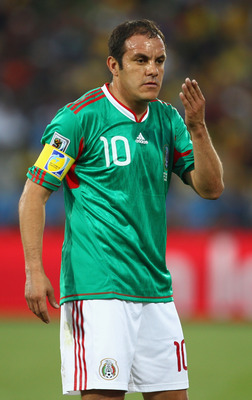 RUSTENBURG, SOUTH AFRICA - JUNE 22:  Cuauhtemoc Blanco of Mexico reacts during the 2010 FIFA World Cup South Africa Group A match between Mexico and Uruguay at the Royal Bafokeng Stadium on June 22, 2010 in Rustenburg, South Africa.  (Photo by Richard Hea