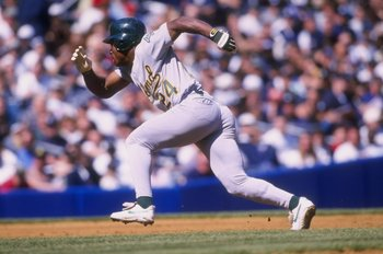 12 Apr 1998:  Outfielder Rickey Henderson of the Oakland A''s in action against the New York Yankees during a game at Yankee Stadium in the Bronx, New York.  The Yankees defeated the A''s 7-5. Mandatory Credit: Jamie Squire  /Allsport